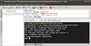 Kate with GDL code and the GDL command prompt