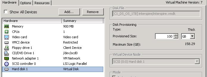 Increasing the disk size in VMWare