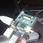 Raspberry Pi with SD card and cables plugged in