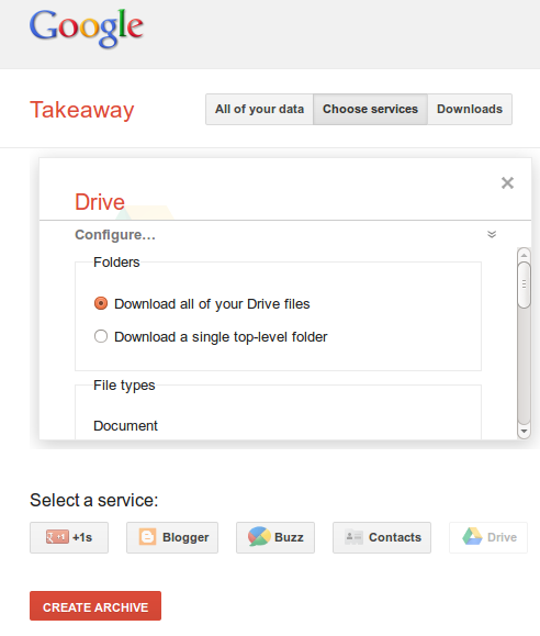 Google Take away