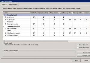 SQL Server Profiler Travce Options