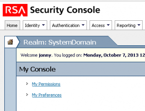 RSA Security Console
