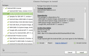 Android SDK Choose Packages to Install